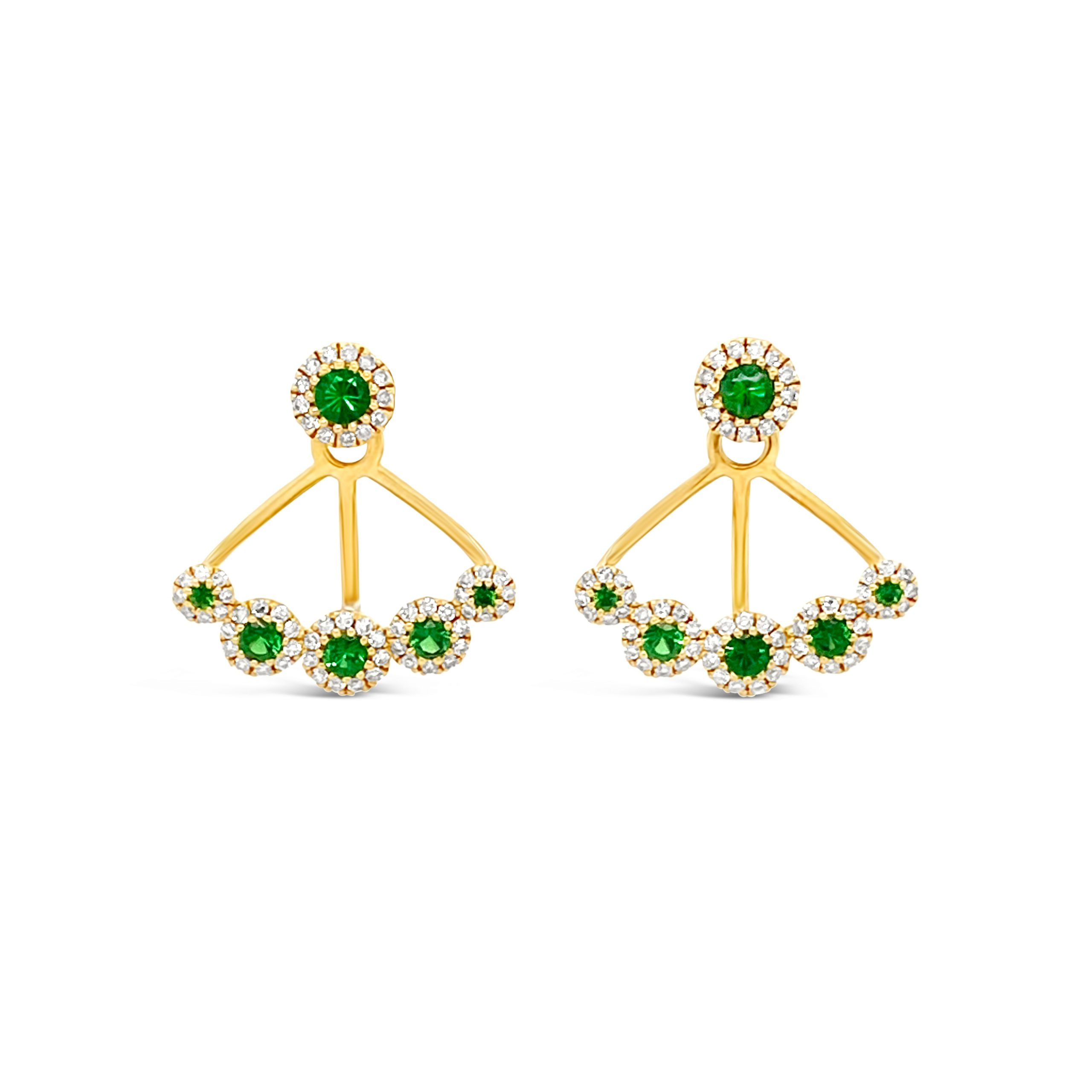 Aretes Granate Verde + Brillantes